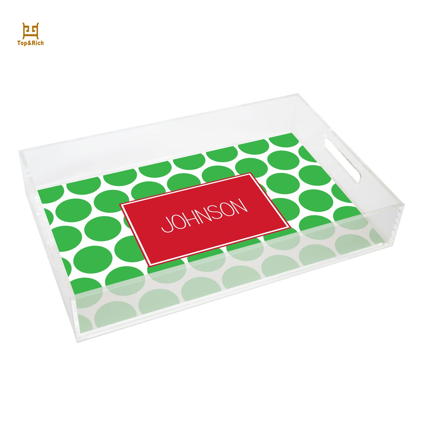 Sticker Printing Acrylic Clear Serving Tray With Handles