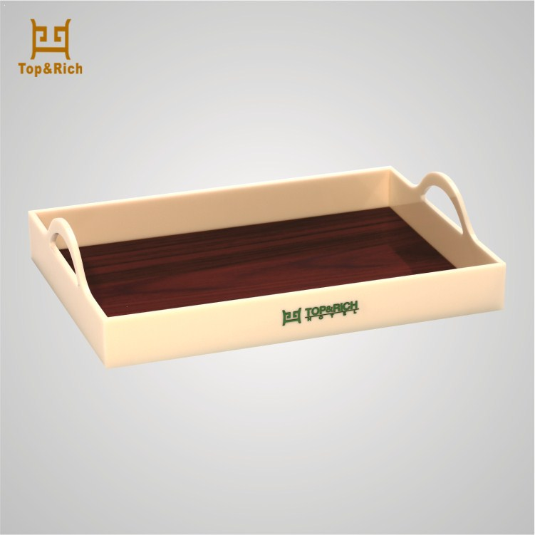 Factory Price Hotel Use Wooden Pattern Bottom Acrylic Tray