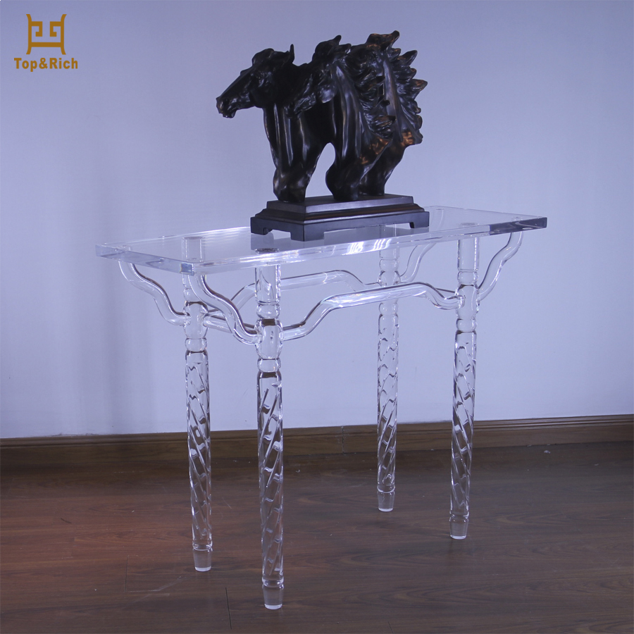 Customized U Shape Acrylic Solid Surface Table Tops Acrylic Console Table